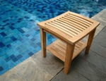 Wholesale Grade A Teak Wood Shower / Bath Room / Pool / Spa Stool Bench with Shelf