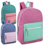 Wholesale 17 inch color block fashion Backpack