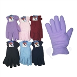 Women's Fleece Lined Gloves - Assorted Colors 48 Pairs per case