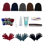 Care Kit Case 12 Pairs of Glove, 12 Throw Blankets, 12 Beanies, and 12 Hygiene Kits