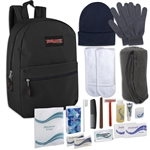 Wholesale Care Kit 17 Inch Backpack Including Fleece Blanket, Tube Socks & 15 Piece Hygiene Kit Case Pack 12